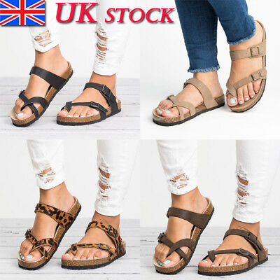 Womens Gladiator Sandals Flip Flops Flat Ladies Buckle Beach Shoes Size 3-6.5