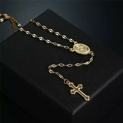 Yellow rose gold silver long rosary madonna cross religious jewelry necklace