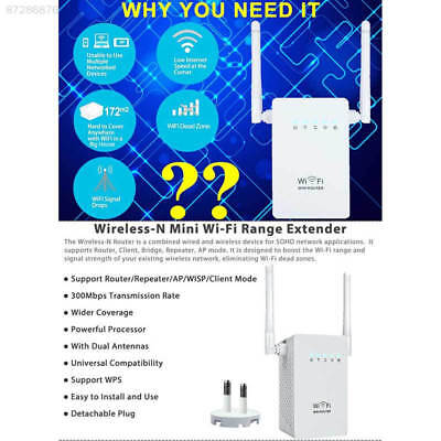 A5FB 300Mbps Wireless Extender WiFi Repeater Signal Booster Router EU Plug White