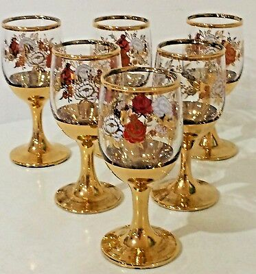 Set 6 Vintage Fortified Wine Glasses Gilt Gold Base Trim Port, Sherry liqueur EC