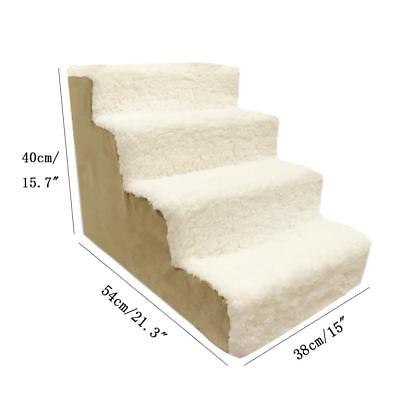 New Beige 4 Steps Animal Dog Stairs High Bed Pet Cat Ramp Ladder Removable Cover