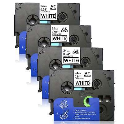 """4PK TZe251 Black/White Label Tapes Compatible/Brother 24mm 0.94""""  P-touch PT-330"""