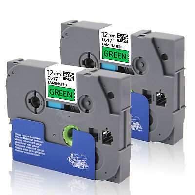 """2PK TZe731 Compatible/Brother 12mm 0.47"""" Black/green Label Tape  P-Touch PT-D400"""
