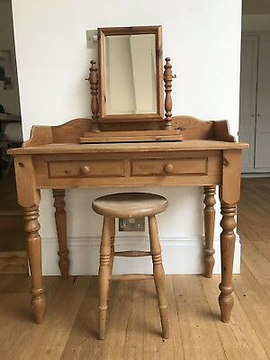 Antique Pine Dressing Table/desk With Mirror And Stool