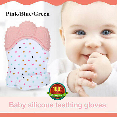1-2PC Silicone Baby Teething Glove Mitt Teether Mitts Safe Chew Toy Sound Effect