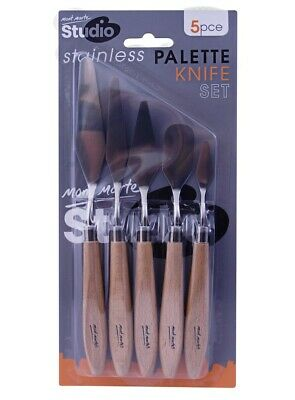 Stainless Steel Palette Knife Set 5pce Studio Mont Marte Wood Handle Art Craft