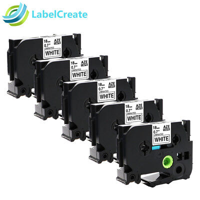 5 PK Label Tapes TZ241 TZe-241 Compatible Brother P-touch Black on White 18mm
