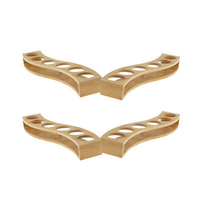 Baoblaze 4Pcs Bamboo Shot Glass Holder Rack Whisky Cup Serving Tray S Shaped