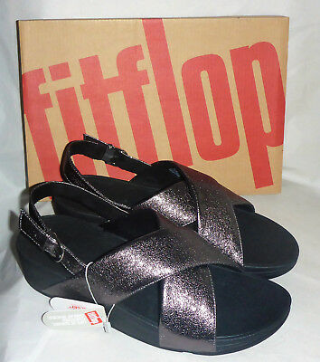 adc99c92900a Fitflop Lulu Molten Metal Pewter Back Strap Cross Sandal Slip On Ladies Box  Sz 8