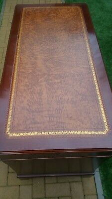 Mahogany Guilted Leather Topped Desk