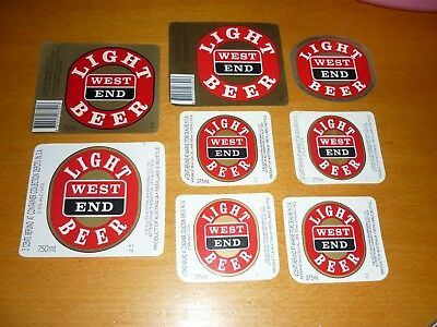 Collectable beer labels -  Set of 8 West End Light beer labels MINT
