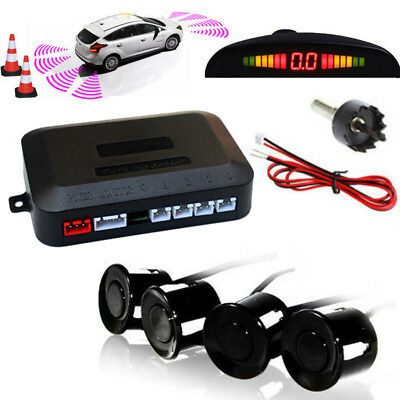 Parking 4 Sensors LED Display Car Reverse Backup Buzzer Radar System Kit Alarm