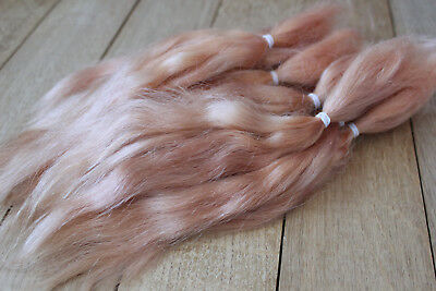"""Mohair Doll Hair Combed locks color ginger 8-12"""" in 0.35 oz organic mohair"""