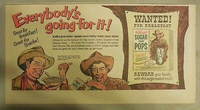 Kellogg's Cereal Ad: Wild Bill Hickok TV Show from 1950's Size:7. x 15 inches