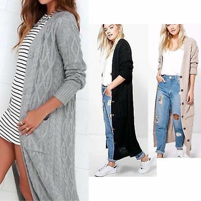 Womens Long Sleeve Full Length Cable Knit Button Pockets Maxi Winter Cardigans