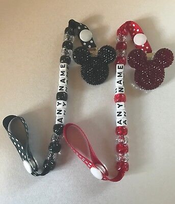 Crystal Rhinestone Dummy Clips ~ ANY NAME  ~ RED / BLACK  ~ Personalised ~ NEW