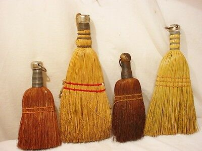 4 Vtg Whisk Broom Collection Brush Primitive Wall Decor Antique Label Farm House