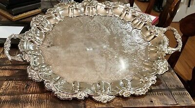International Silver plated Serving Tray 22.5 inches made in China