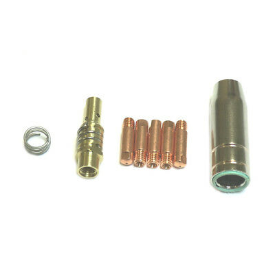 MB15 EURO TORCH MIG WELDING TIPS 0.6MM x 6MM + NOZZLE + ADAPTOR + SPRING 8PC SET