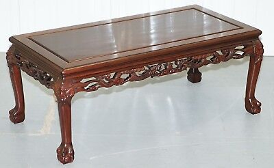 Circa 1910 Japanese Chinese Hand Carved Coffee Tee Table Dragons Claw Ball Feet