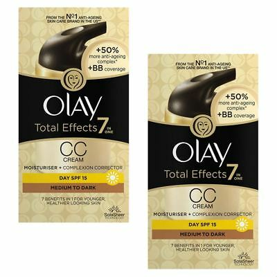 2 Olay Total Effects Color Corrección Crema Hidratante Spf 15 Mediumtodark 50ml