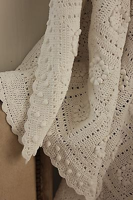 Vintage French old crochet bed cover lace handmade textile lovely lace 72X95