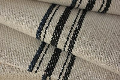 Organic Vintage STAIR RUNNER HEMP fabric per ONE YARD BLUE BLACK 1yd grain sack