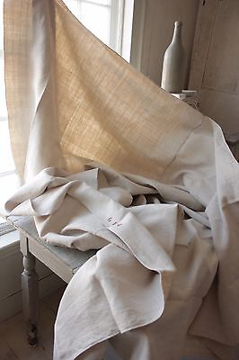 Antique French linen sheet HEAVY hemp 5.5 POUNDS 82X93 HEAVY nubby fabric old