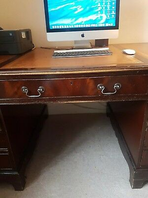 Antique style twin pedestal wooden office desk