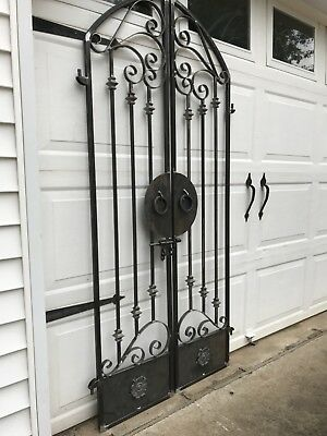 Tuscan Old World Iron Scroll Garden/Wine Cellar Gate