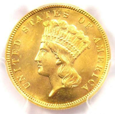 1887 Three Dollar Indian Gold Coin $3 - PCGS Uncirculated (UNC MS) - Rare Date!