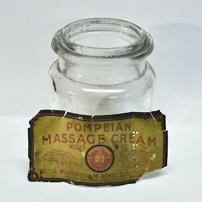 Vintage POMPEIAN MASSAGE CREAM 5 Oz. Antique Bottle w/Paper Label RARE