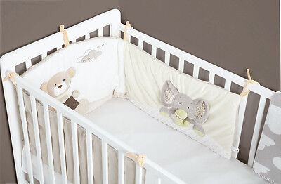 ExDisplay MiniDream Baby Cot Bumper Cot Bed Nursery Bedding Embroidered
