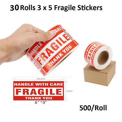 30 Rolls 3x5 Fragile Stickers Handle With Care Thank You Shipping Label 500/Roll