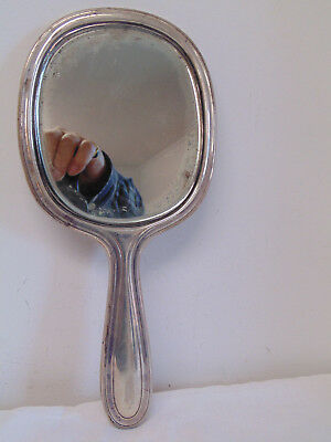 Heavy Vintage Signed Tiffany & Co Sterling Silver Beveled Glass Hand Mirror