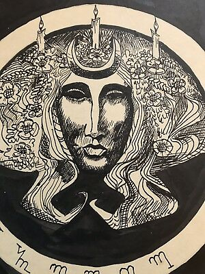 Occult , Pagan , Goddess Andred Art c1950-1975 , Signed By Artist