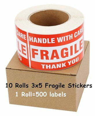 10 Rolls 3x5 Handle with Care Thank You Fragile Stickers Labels 500/Roll