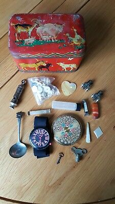 Vintage Job lot Junk Drawer With Whistle And Other Items In An Old Tin