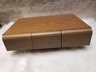 Vintage Faux Wood 3 Drawer Audio Cassette Tape Deck Holder Storage Case 36 Slot