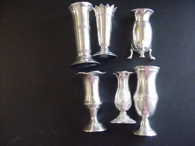 Two's Company - (6) Queen Anne's Silver Plated Brass Vases