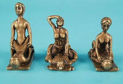 3 Unique Chinese Bronze Statue Men Women Love Old Solid Private Collection