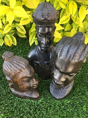 Collection Of 3 Old Vintage Hand Carved 'african' Hardwood Busts