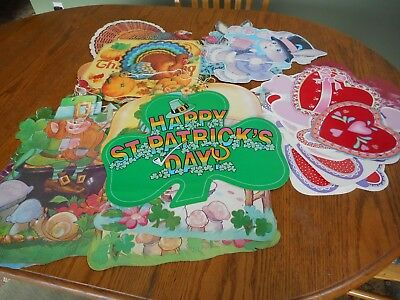 Vintage LOT of 27  Die Cut Cardboard Decorations St Pats Valentines Easter Thank