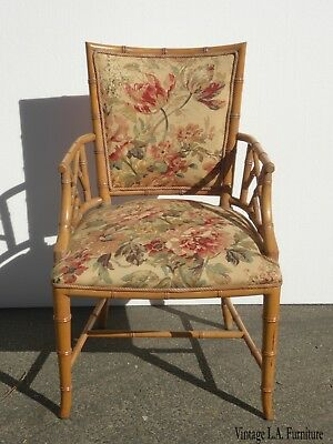 Vintage Chinese Chippendale Bamboo Rattan Accent Chair w Gold Floral Fabric