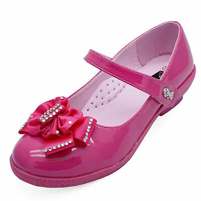 Girls Kids Childrens Pink Patent Dolly Ballerina Ballet Shoes Pumps Sizes 12-3