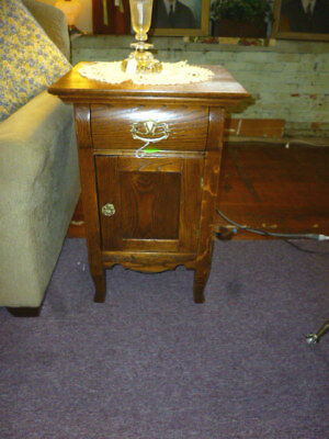 "Antique nightstand Oak 1900's end table brass hardware refinished 19"" wide"