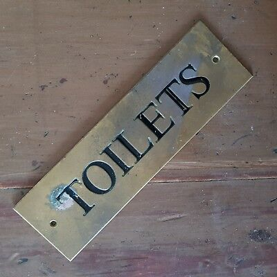 Vintage Brass TOILETS Door Plaque, Engraved & Paint Filled - Salvage - NO RES