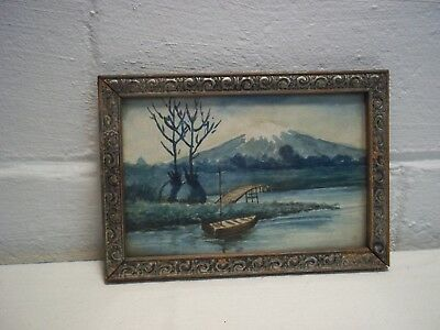 Vintage/Antique Japanese Watercolor Painting/Print Lake View of Mount Fuji