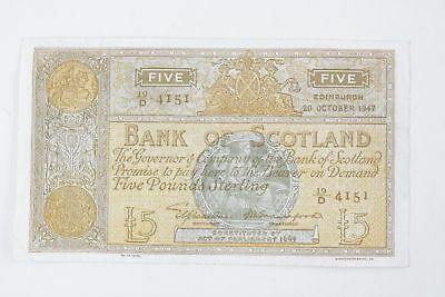 Vintage 1947 BANK OF SCOTLAND Five Pound Note Circulated