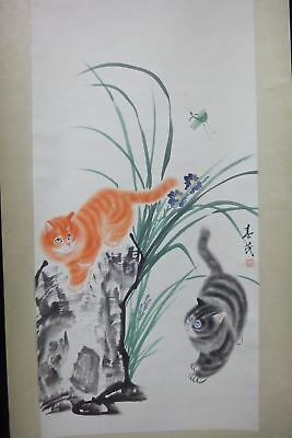 Very Large Fine Old Chinese Scroll 100% Hand Painting Vivid Cats Mark